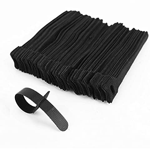 100 Reusable Black Velcro Cable Ties – hook and loop - Ideal for organizing TV, PC and other cables