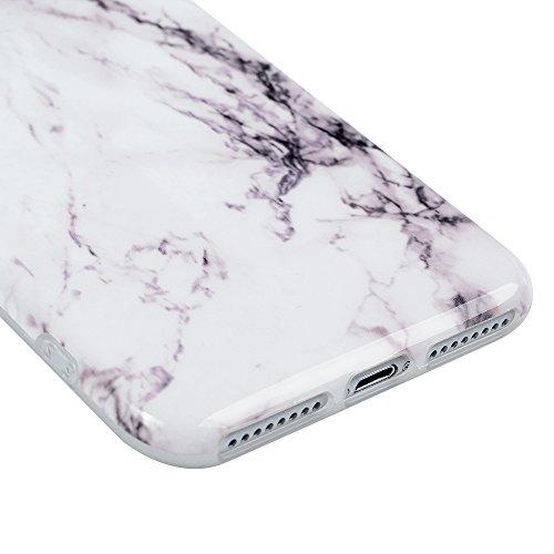 "YOKIRIN Silikonhülle für iPhone 7 Plus (5.5"") Case Cover Premium Marmor TPU Silikon Case Cover Handytasche Etui Handycase Flexible Rutschfest Kratzfest Handyhülle Purple Lila Weiß"
