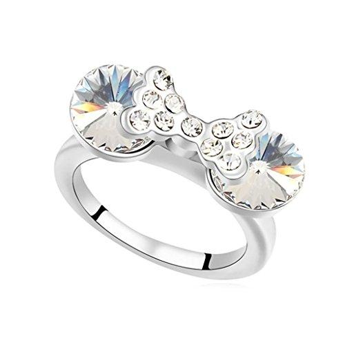 Epinki Damen Ringe, Edelstahl Damenringe Rund Bowknot Form Verlobungsringe Solitärring Eheringe Weiß mit Zirkonia Gr.57 (18.1)