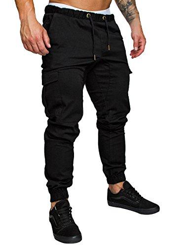 Cindeyar uomo pantaloni lunghi cargo con coulisse tasche laterali trousers della di sport pants elastici casual maschi (nero, xxxl)