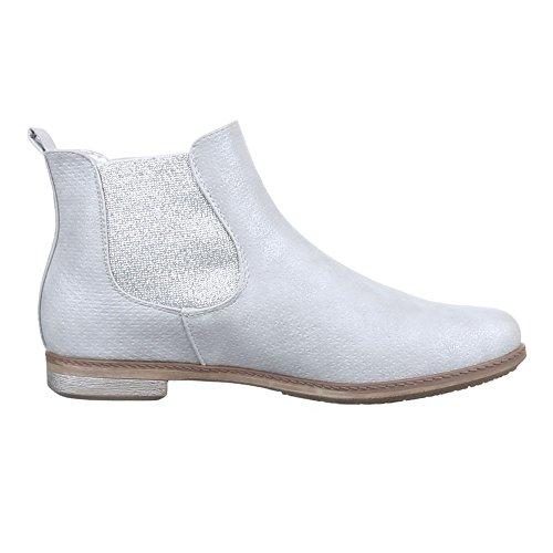Damen Schuhe, 51077-PG, STIEFELETTEN STRETCH CHELSEA BOOTS BLOCKABSATZ Silber