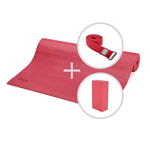 ASANA SET I, Yoga-Set aus Yogamatte, Yoga Block und Yogagurt, wein-rot, Yogaset (nicht nur) für Anfänger