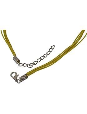 Halsband aus Baumwolle, 45 cm, verlängerbar, mehrere Stränge, Metallverschluss, verschiedene Farben