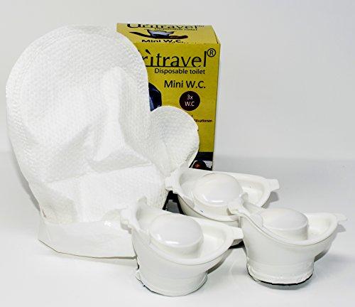 Mini Mobilurinal Uritravel 3er Set und 12 Stück Feuchthandschuhe Hygieneset für unterwegs