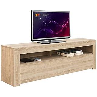 Comifort Meuble TV Salon Moderne Table télévision, Couleurs : Blanc, Blanc/chêne, Dimensions : 100 x 35 x 49 cm