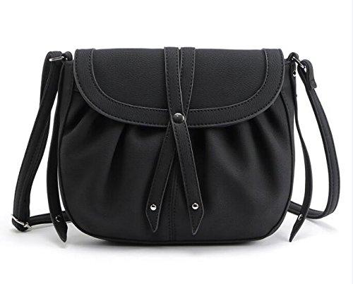 (AASSDDFF Neue Crossbody Tasche Vintage Handtasche Frauen Taschen Kleine Geldbörse Lady'S Schulter Bolosa Großhandel,Schwarz)