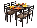#7: DeckUp Haven Four Seater Dining Table Set (Rubber Wood, Dark Walnut)