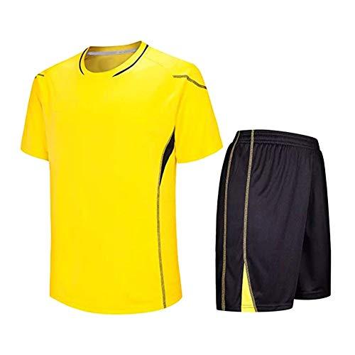 Meijunter Kind Erwachsene Fußball T-Shirt & Shorts Set - Team Training Wettbewerb Sportbekleidung Im Freien Kostüm Soccer Jerseys Uniforms, Gelb, Tag 170-175CM = UK/EU/US/AUS 150-155CM