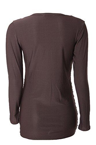 Langarmshirt mit Risse & Pailletten Verzierung Braun