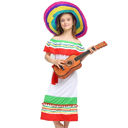 Amosfun Mexikanisches Kostüm Set Mexikanisches Kleid Fiesta Serape Poncho mit Strohhut Mexikanische Maskerade Cosplay Kostüme für Kinder Cinco De Mayo Hawaii Party Supplies