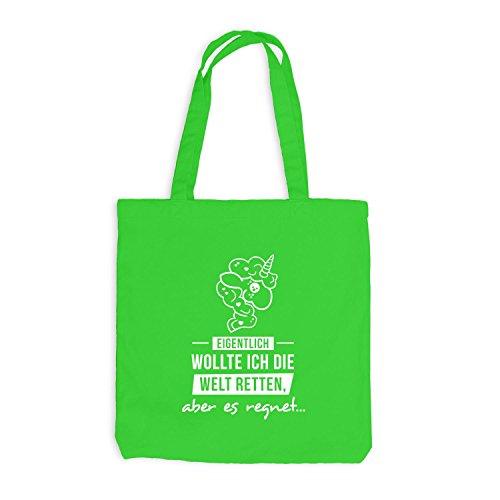Jutebeutel - Einhorn - Die Welt retten, aber es regnet - Unicorn Hellgrün