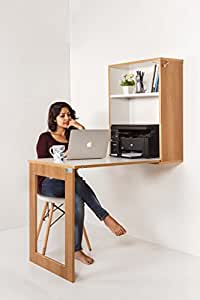 INVISIBLE BED Plywood Folding Multipurpose Study Table with Shelf (Dessert Walnut - 77cm x 59cm)