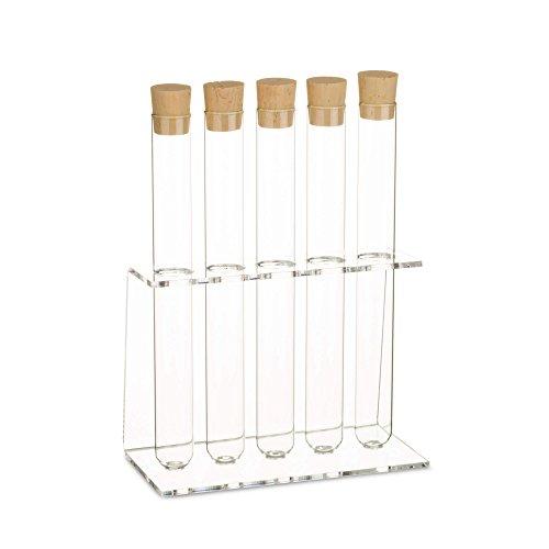 �nder mit Reagenzglas | Reagenzglashalter | Gewürzregal | Inklusive Natur-Korken ✓ (5-Loch Ø20mm +Glas) (Kunststoff-zylinder Klar)