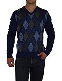 S&LU toller Herren-Feinstrick-Pullover in zeitlosem Karo-Muster mit V-Ausschnitt Größe M-XXXL (3XL)