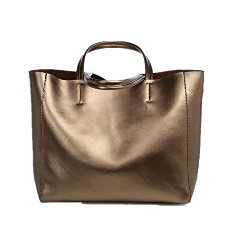 Frauen-Leder-Handtasche, Xjp Art- und Weiseeleganter Schulter-Beutel-Tote-Geldbeutel Golden