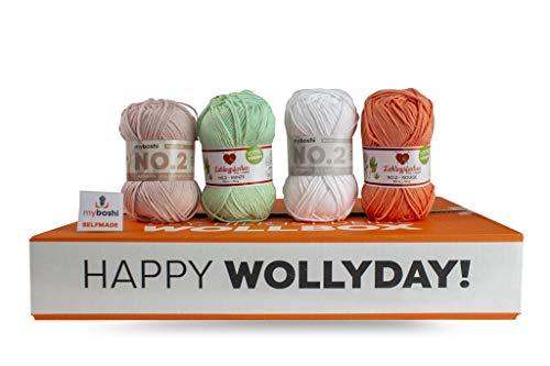 myboshi Wollpaket Baby | aus No.2 | 5 Knäuel Wolle + Anleitung | Häkeln oder Stricken | Pastelltöne