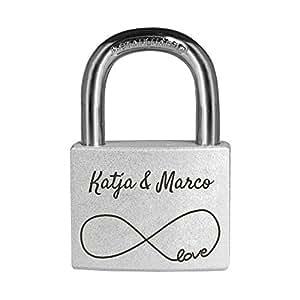 Personello® Graviertes Liebesschloss mit eigenem Namen und Datum - Schloss mit Unendlichkeitszeichen, silber, Premium Qualität