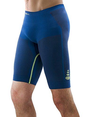 Pantalone running corto uomo F-All mod. Sahara, senza cuciture, traspirante, comodo e confortevole Blu
