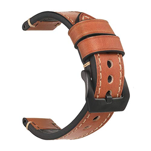 f4247ab78 24mm Watch Strap,EACHE Vegetable Tanned Leather Handmade Watch Band,Light  Brown-Black
