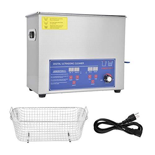 Ultrasonic Cleaner 6L, SUS304 Digital Ultrasonic Cleaner, 40KHz Industria Power Temperatura regolabile Kit di strumenti di pulizia(US Plug 110V)