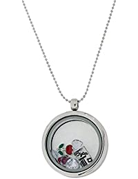 "The Olivia Collection TOC Silvertone Floating Charms Locket Necklace 30"" Chain FJ1962"