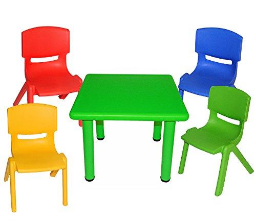 5 tlg. Set: Sitzgruppe - Tisch + 4 Kinderstühle - BUNT - stapelbar / kippsicher / bis 100 kg belastbar - für INNEN & AUßEN - Kindermöbel für Mädchen & Jungen - Plastik / Kunststoff - Stuhl Stühle / Kinderzimmer / Kindertisch - Kinder - Gartenmöbel Kindertischgruppe - Tischgruppe