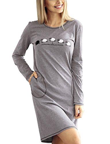 Babella 3023 Camicia Da Notte A Maniche Lunghe Con Scollo Rotondo E Motivo Stampato - Fabbricato In UE, grigio,XL