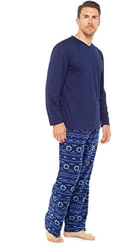 Mens Warm Jersey Oberteil & Vlies-böden Pyjama nachtwäsche pajama lounge wear (XL, Blau/Navy) (Schlaf-hose Herren Fleece)