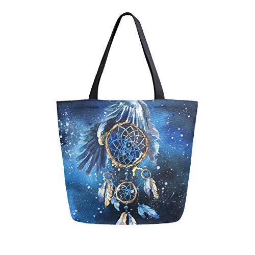 Hunihuni - Bolsa de lona reutilizable con diseño de águila atrapasueños