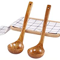 quanju cheer Japanese Solid Wood Soup Ladle Long Handle Hot Pot Spoon Cooking Utensil Kitchen Tableware Supplies Tool - Small