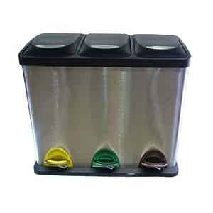 poubelle p dale en acier inoxydable 3 poubelles cuisine maison. Black Bedroom Furniture Sets. Home Design Ideas