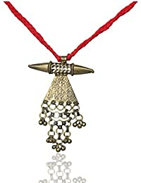 Junk N Jute Red And Gold Alloy Strand Necklace For Women (JunkNJute 10)