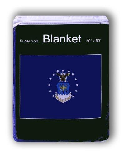 Air Force Flag Fleece Blanket 5 ft x 4.2 ft. Throw Cover Bedding USAF Armed Forces Logo Emblem by Super Soft -