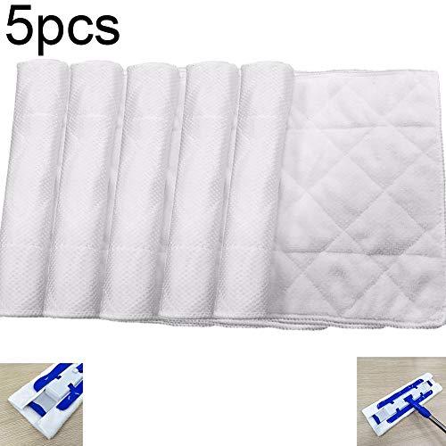 Actoor 5 Stück Mop Ersatz, Mikrofaser-Wischtuch Clipart Mopp Mikrofaser-Mopp Tuch Wechseln Beide Seiten Verfügbar Weiß (44 * 24 cm)