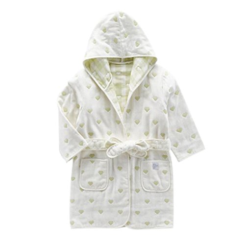 Deylaying Baumwolle Terry Cloth Kapuze Bath Schlaf Robe Pyjama Kleid Nachtwäsche Bademantel für Kinder Baby Mädchen Jungen (Plüsch Hose Terry)