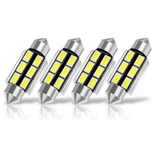 SUMOZO Super Bright 578 6411 212-2 569 211-2 Ampoules LED Festoon C5W ampoule à led 6-SMD 5730 Canbus Erreur 41MM 42MM Intérieur de voiture Lumières de porte dôme intérieur, 6000K pack de 4 (42 mm)
