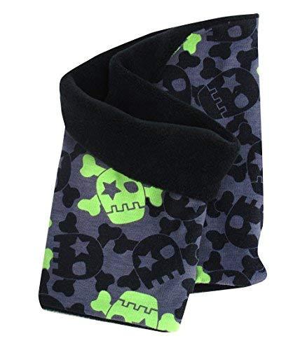 Wollhuhn - sciarpa calda ad anello, nero-grigio, con design a teschi, per ragazze e ragazzi, interno in pile, 20141105