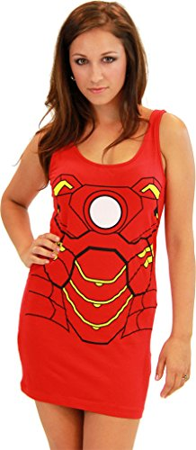 Kostüme Shirt Ironman (Iron Man Red Juniors Costume Tunic Tank Dress (Juniors)
