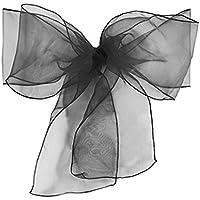 Providethebest 10pcs / Silla Wedding Mucho Fajas Fajas Multicolors Organza Presidente Arco de la decoración del acontecimiento del Partido Silla de la ceremonianegro