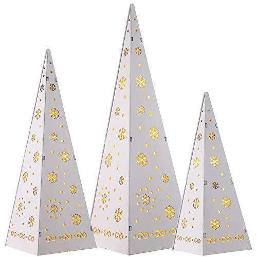 WeRChristmas Pyramides en Bois Arbres de Noël avec LED Blanc Chaud Décoration, 25 cm, 32 cm, 40 cm