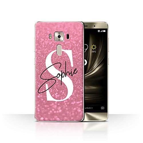eSwish Personalisiert Individuell Verblaßter Blick Glitzer Effekt Hülle für Asus Zenfone 3 Deluxe ZS570KL / Rosa Autogramm Design/Initiale/Name/Text Schutzhülle/Case/Etui