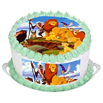 Enjoyable The Lion King Cake Topper Round Cake Topper Edible Rice Paper Funny Birthday Cards Online Barepcheapnameinfo