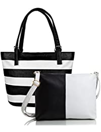 Don Cavalli Women's Handbag With Sling Bag Combo (White & Black)