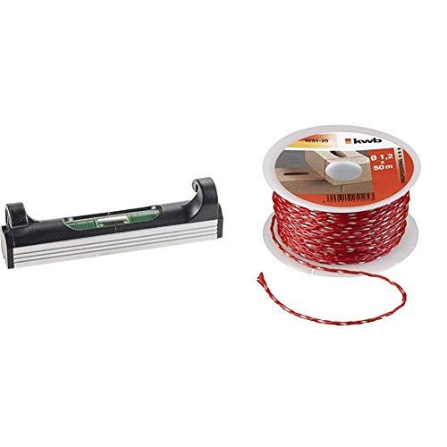 kwb Schnur-Wasserwaage, 70 mm, leicht, klein, handlich und robust, mit Aluminium Unterseite, ideal für Richtschnur, in Schwarz-Silber & 9251-25 Maurerschnur 50 Meter, 1,2 mm, rot, m x