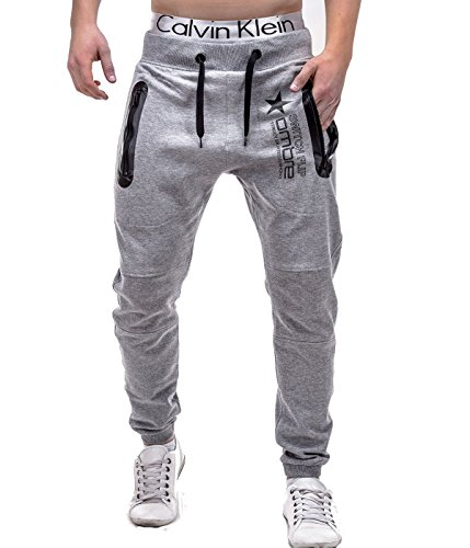 Betterstylz Switch Jogginghose Harem Sytle Sweatpants Jogger Fitness, Crotch Trainingshose S-XL 3 Farben (S, Grau Melange)