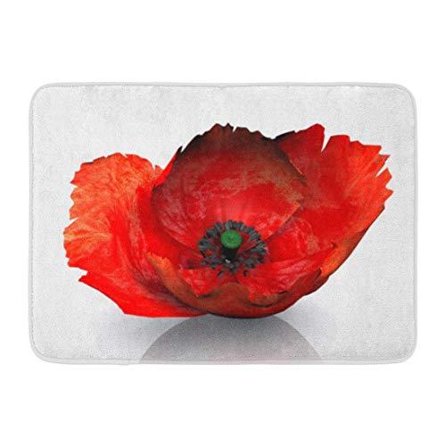 Mohn Roten Teppich (LIS HOME Badvorleger 3D Rot 3D Blume Mohn Weiß Illustration Badezimmer Dekor Teppich)