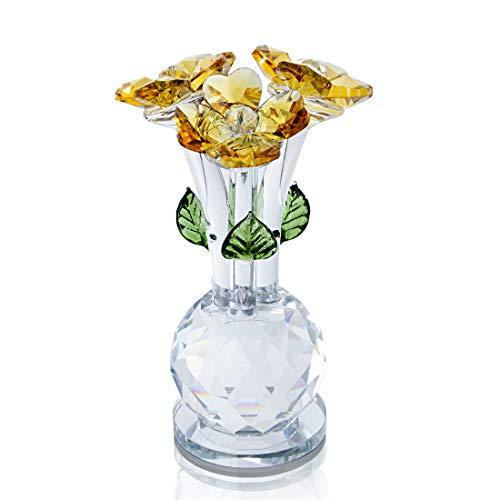 H&D HYALINE & DORA - Figura Decorativa de Cristal, diseño de Flores, Color Amarillo