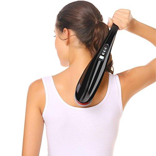 Guisee Handmassagegerät Massagegerät Kabellos Wiederaufladbar Rückenmassage mit 9 Modi Vibration Perkussion Massage 9 Geschwindigkeitsstufen für tiefe Gewebe am Hals Arm Taille Bein und Fuß - Langlebig