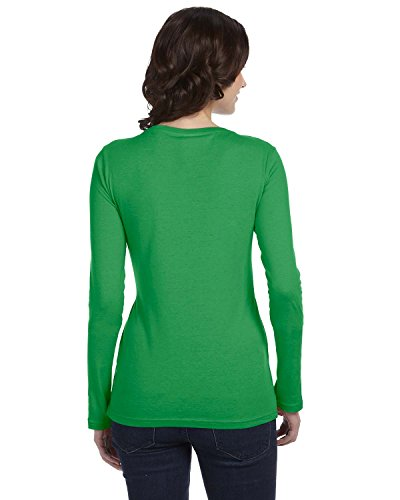 Anvil - T-shirt da donna, a maniche lunghe, ampio scollo rotondo verde - Green Apple