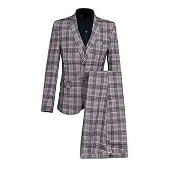 Xmiral Veste Costume Homme Mince écossais montrent Manteau Pantalon ... a95e8595150